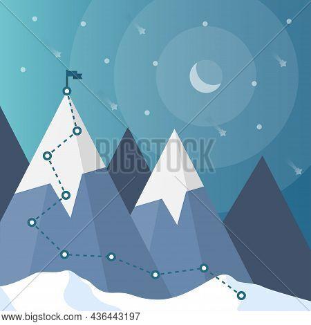 Mountain Climbing Route To Peak. Goal Achievement. Path To Goal Success. Business Target Achievement
