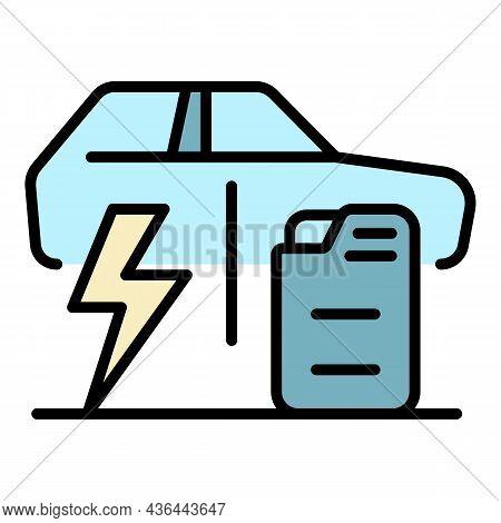 Electric Car Versus Fuel Car Icon. Outline Electric Car Versus Fuel Car Vector Icon Color Flat Isola
