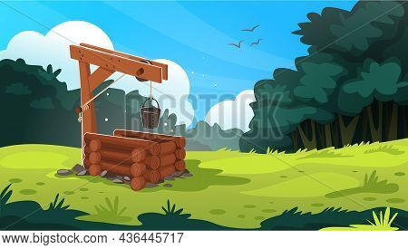 Landscape With Water Well. Cartoon Village Background With Bucket And Traditional Pit Made Of Stone