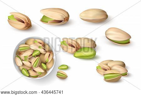 Realistic Pistachio. 3d Roasted Nut In Shell. Closeup Mockup For Package Design And Healthy Food Adv