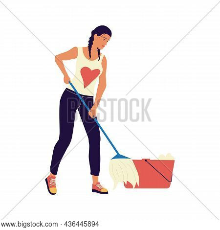Woman Cleaning Floor With Mop. Cartoon Female Character Mopping. Isolated Girl Washing Room With Bru