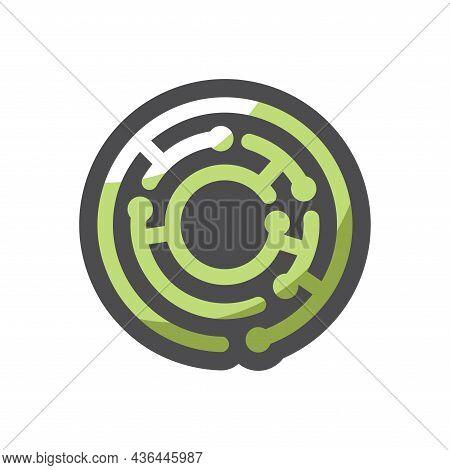 Circle Green Maze Vector Icon Cartoon Illustration
