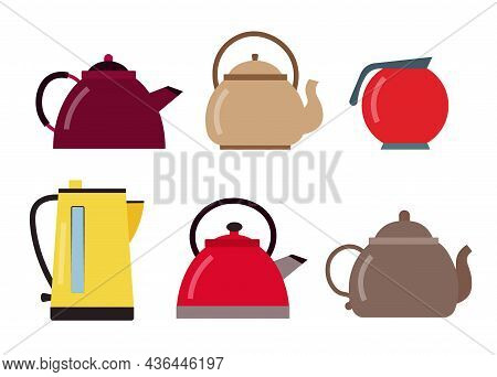 Set Of Kettles. A Kettle For The Kitchen.vector Illustration Vector Illustration.