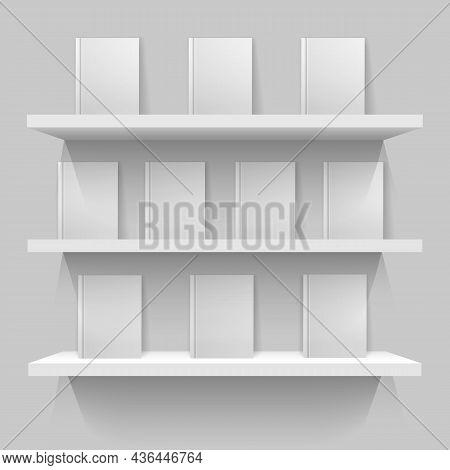White Mockup Bookshelves. Brochures Lighting Rack, Shelves With Blank Books Volumes, Decorative Wall