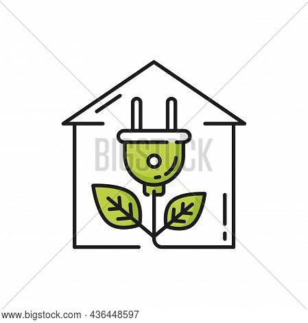 Green Renewable Energy In House, Electric Plug Isolated Line Icon. Vector Modern House, Electric Plu
