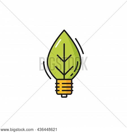 Lightbulb In Shape Of Leaf Plant, Eco Environment Isolated Color Line Icon. Vector Pure Planet And S