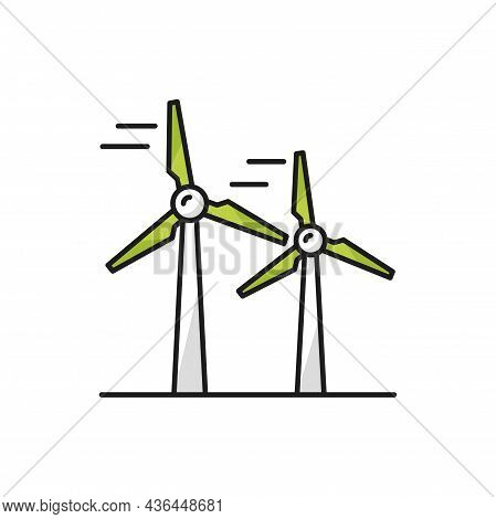Windmill Isolated Wind Turbine Icon, Energy Source Color Line Icon. Vector Converter Converting Kine