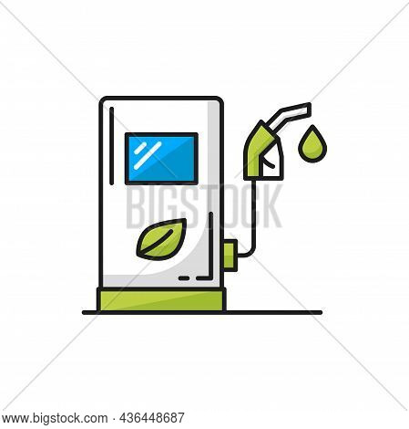 Fuel Service Station With Eco Friendly Biodizel Isolated Color Line Icon. Vector Charging Station Fo