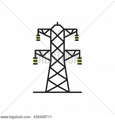 High Voltage Transmission Tower Line Art Generator Isolated Icon. Vector Electricity Pylon Structure