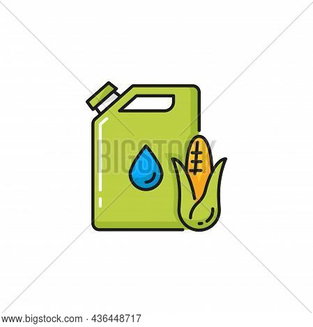Corn Biofuel Canister Can Isolated Natural Fuel Color Line Icon. Vector Green Energy, Jerrican With