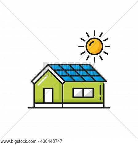 Solar Panels On House, Renewable Energy Sun Power Isolated Color Thin Line Icon. Vector Modern Archi