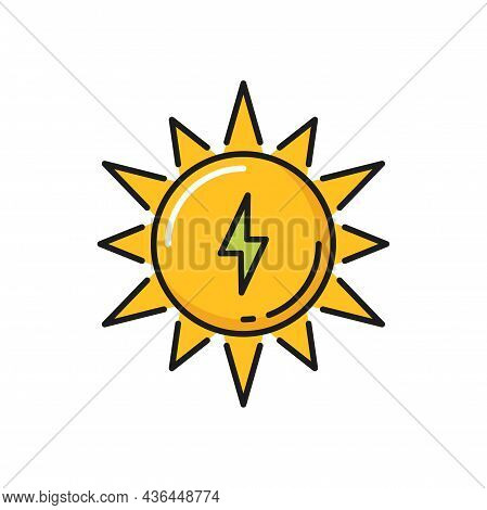 Thunder Lightning And Sun Green Energy Sources Isolated Color Line Icon. Vector Green Energy Source,