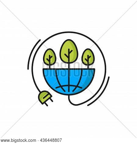 Electric Plug And Growing Plants, Eco Energy Power Isolated Color Icon. Vector Green Energy, Plants