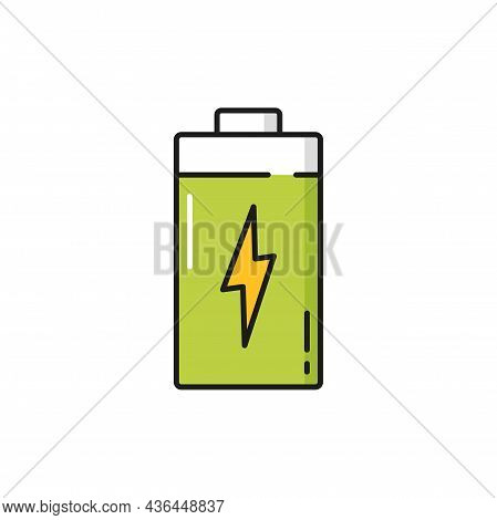 Thunder Bolt Lighting Power Battery Isolated Color Line Icon. Vector Quick Charge Emblem, Renewable