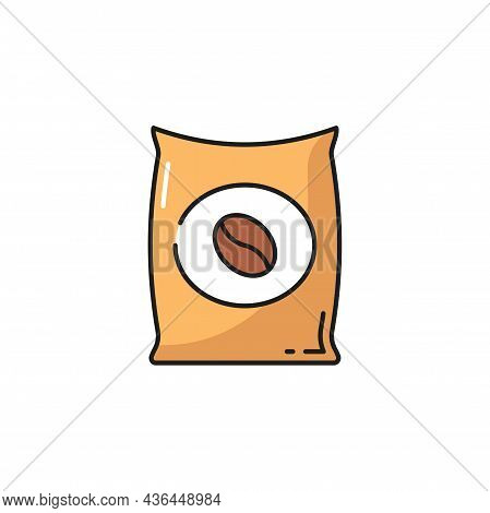 Roasted Coffee Beans In Bag Or Package Isolated Flat Line Icon. Vector Aroma Arabica In Paper Bag, N