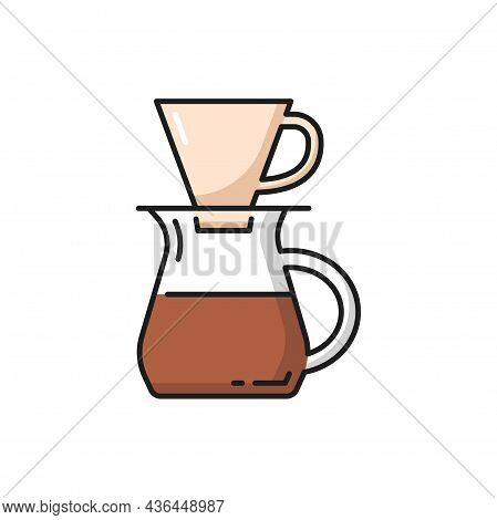 Coffee Pot With Filter, Brewed Aromatic Drink Isolated Icon. Vector Energetic Beverage In Pour-over