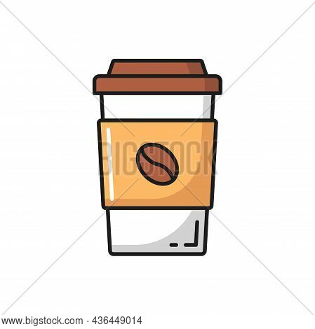 Paper Coffee Cup With Lid And Bean Flat Line Icon. Vector Disposable Tea Or Cocoa Cup With Cover, Ho