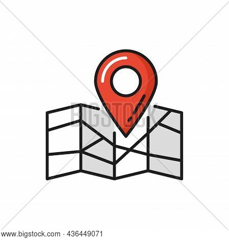 Parcel Tracking, Gps Delivery, Map Point Location Isolated Flat Icon. Vector Navigation And Point Lo
