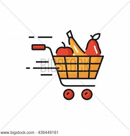 Shopping Cart, Grocery Products Online Fast Delivery Isolated. Vector Online Order And Delivery, Tro