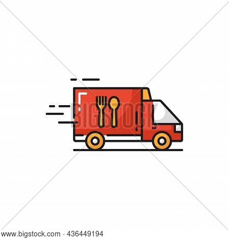 Truck Van Online Food Order Quick Express Delivery Isolated Flat Icon. Vector Hot Dinners And Lunche
