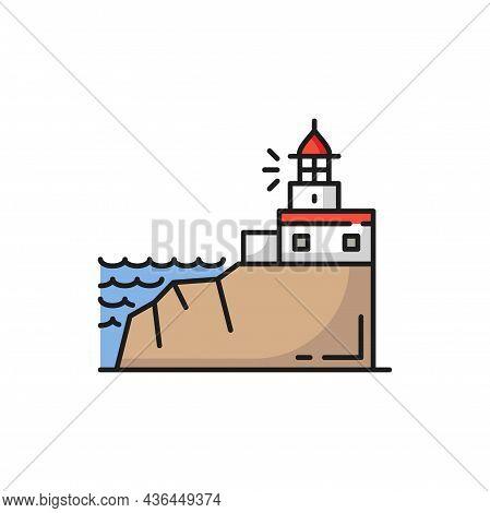 Cabo Da Roca In Sintra, Portugal Landscape Icon Isolated. Vector Portugal Searchlight Tower In Sintr