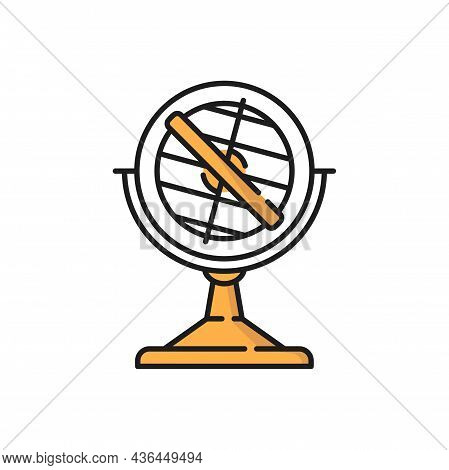 Antique Compass Maritime Navigation Equipment Sign Isolated Flat Line Icon. Vector Retro Guide Orien