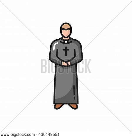 Catholic Priest Isolated Prayer In Robe Flat Line Icon. Vector Portuguese Roman Pastor, Portugal Man
