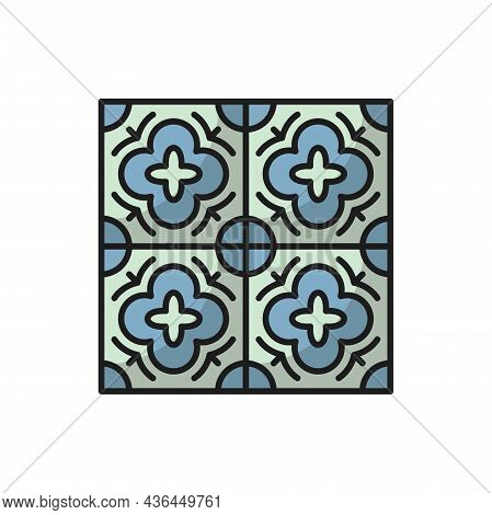 Azulejo Floor Tile Isolated Abstract Geometric Mediterranean Pattern, Portuguese Ornament. Vector Gr