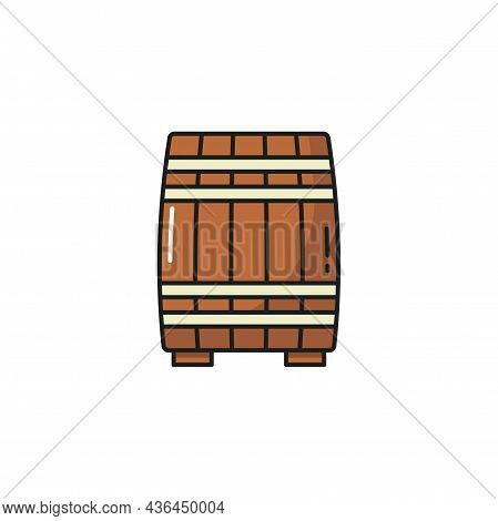 Wooden Barrel Of Porto Wine Isolate Container Flat Line Icon. Vector Container To Store Oak, Beer An