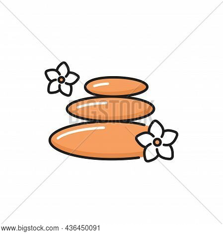Pebbles With Plumeria Flowers Isolated Spa Stones Flat Line Icon. Vector Well Balanced Rocks, Massag
