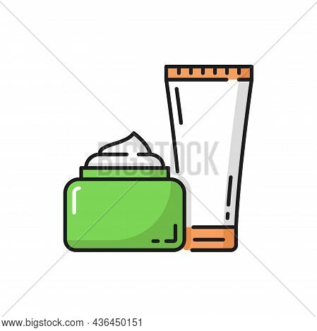 Spa, Body And Face Cosmetics Beauty Cream Bottles Isolated Flat Line Icon. Vector Essence Organic Pr