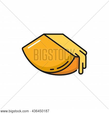 Melted Cheese Isolated Sliced Triangle And Creamy Cheddar Flat Line Icon. Vector Gourmet Delicious M