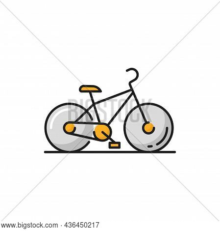 Eco-friendly Transport Isolated Bike Flat Line Icon. Vector Road Racing Bicycle Healthy Lifestyle Mo