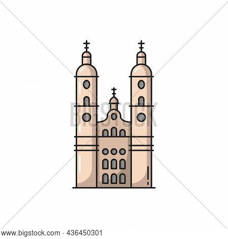 Cathedral Swiss Landmark Isolated Flat Line Icon. Line Icon. Vector Swiss National Symbol, Medieval