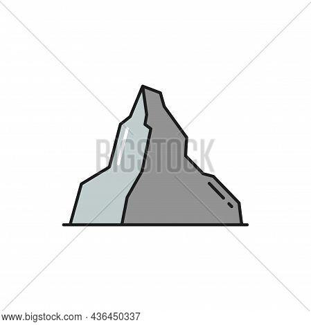Himalaya Everest, Matterhorn Mount Isolated Flat Line Icon. Vector Swiss Winter Hobby Sport Adventur