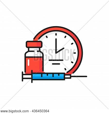 Time To Vaccinate, Bottle Injection, Coronavirus Isolated Color Line Icons. Vector Bottle And Timer