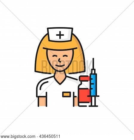 Doctor Nurse Woman With Pills And Drugs, Syringe Shot Isolated Color Line Icon. Vector Antiviral Vac