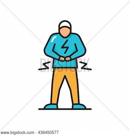 Man With Abdominal Pain Health Problem Discomfort Diarrhea Isolated Flat Color Line Character. Vecto