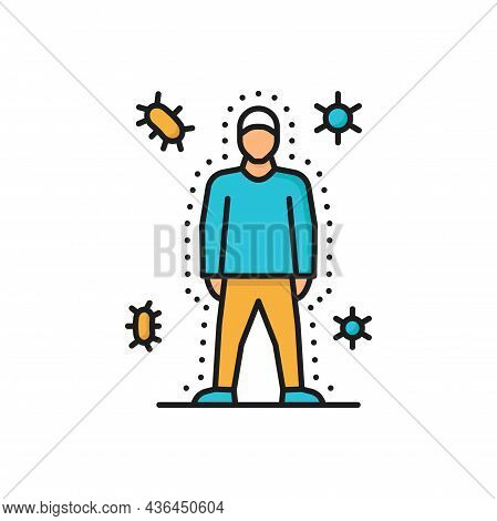 Immune System, Health Bacteria Virus Protection Isolated Color Line Icon. Vector Healthy Man Reflect