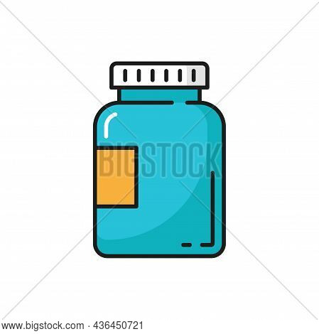Probiotics In Bottle Package Isolated Supplements Color Line Icon. Vector Immune And Digestive Healt
