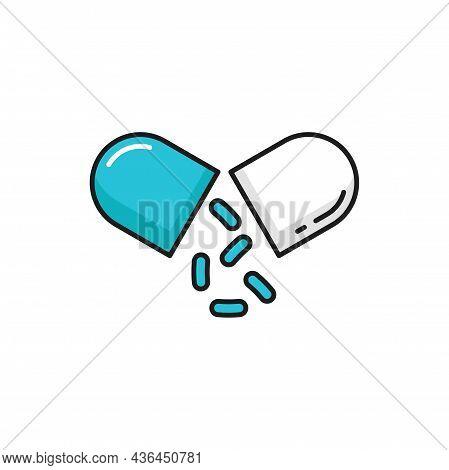 Split Capsule, Probiotics Ad Isolated Good Gut Bacteria Color Line Icon. Vector Bifidobacterium With
