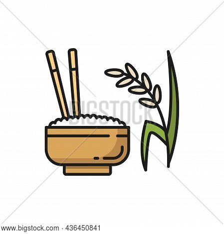 Steamed Rice In Bowl With Chopsticks Isolated Color Line Icon. Vector Cup Of Rice, Dinner Food In Ce