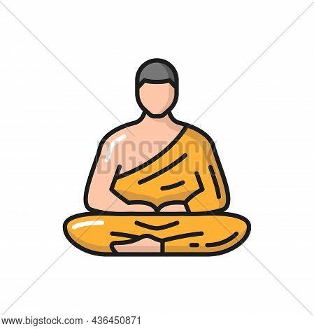 Prayer In Zen Isolated Meditating Thai Person, Buddhist Prayer Thailand Man Color Line Icon. Vector