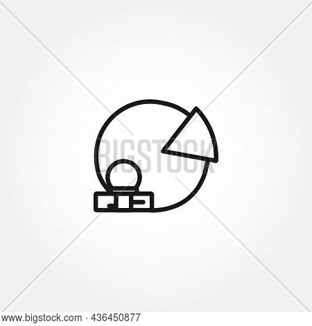 Pie Chart With Money Line Icon. Pie Chart Isolated Line Icon
