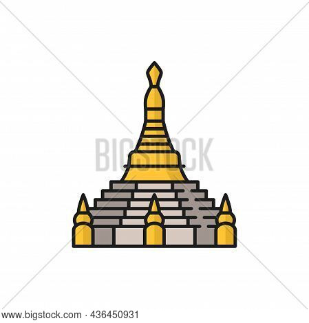 Enlightenment Stupa Isolate Buddhism Religion Sign Isolated Color Line Icon. Vector Buddhist Worship