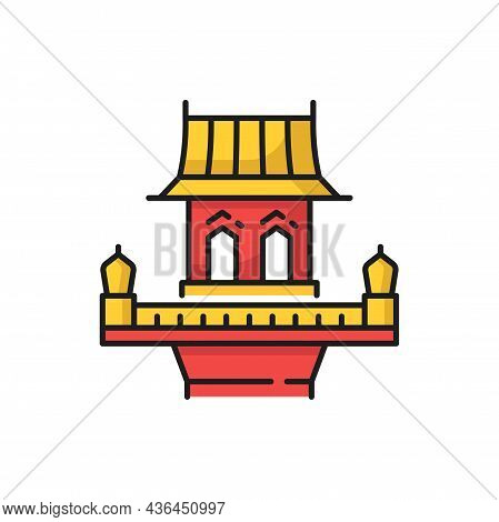 Thailand Building, Retro Thai Home House Isolated Red And Yellow Color Line Icon. Vector Old Spirit