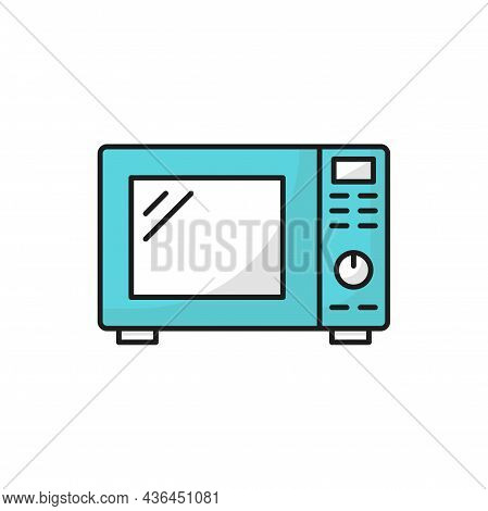 Household Appliance Electric Microwave Oven Isolated Blue Color Line Icon. Vector Kitchenware Equipm