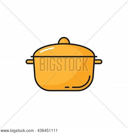 Saucepan, Yellow Kitchenware Cooking Pot Isolated Line Icon. Vector Metal Large Dishware Object To B