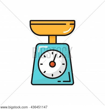 Kitchen Scales Food Measuring Device Isolated Color Line Icon. Vector Weighing Libra Appliances, Cul