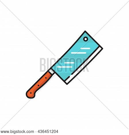 Metal Chopper Cleaver Knife With Red Wooden Handle Isolated Color Line Icon. Vector Meat Cleaver, Bi